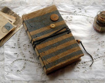 Nautical Notes - Blue Striped Linen Journal, Hand Bound, Tea Stained Pages, Nautical Theme - OOAK