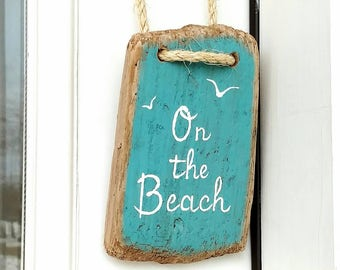On The Beach Driftwood Door Hanger Sign, Turquoise Beach Sign, Seagulls Flying, Coastal Beach or Nautical Decor, 4 x 7 Inches