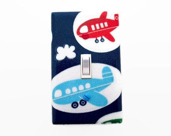 Airplane Light Switch Cover - Planes Switch Plate - Airplane Nursery - Boys Bedroom - Blue Red Planes Decor - Boys Nursery - Airplanes Room