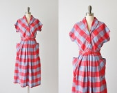 Vintage 1940s Plaid Cotton Dress / 40s Dress / Pleated Skirt / Pockets
