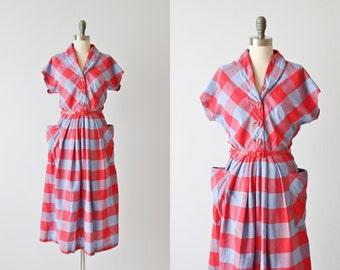 Vintage 1940s Plaid Cotton Dress / 40s Dress / Pleated Skirt / Pockets