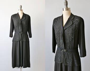 Vintage 1940s Black Dress with Soutache  Trim / 40s Rayon Dress / Swing Dress