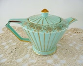 Vintage Art Deco Sadler Teapot, Turquoise-Green Color Gold Gilt Trim, Ribbed Body, Made in England