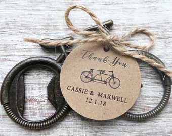 Bicycle Bottle Opener Favor w/ Personalized Tag 25qty + /Wedding Favor/Shower Favor