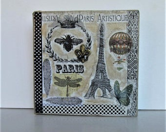 """Original Eiffel Tower Mixed Media painting canvas, French Country Decor, Shabby Paris apartment, bee, butterfly collage, 6"""" x 6"""", gift idea"""
