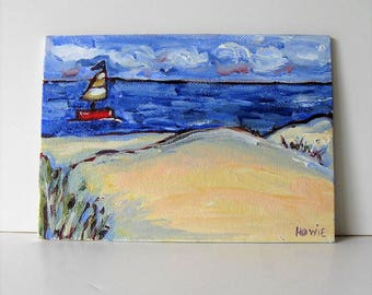 "Original acrylic beach art canvas, acrylic painting, 5"" x 7"", Shabby nautical decor, Sailboat, sand dunes, Impressionist wall art, gift idea"