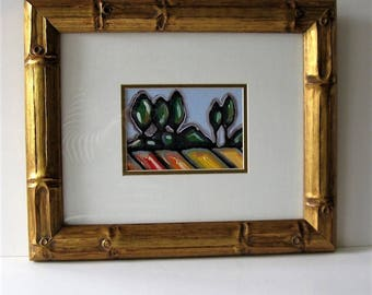 "Framed acrylic landscape painting, 17 1/2"" x 14 1/2"", original art, gold wood frame, Contemporary wall decor, Modern home decor, gift idea"