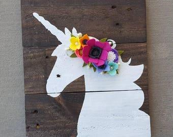 Unicorn Sign with Lularoe colored felt flowerts
