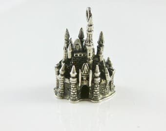 Charm, Sterling Silver, 3D Charm, Walt Disney, Disneyland Castle, Silver Disney World, Souvenir, Vacation, Travelers Charm