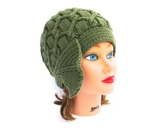 Forest Green Cloche - 1920s Cloche Hat - Cable Knit Hat - Women's Cloche - Asymmetrical Hat - Flapper Hat - Knit Accessories
