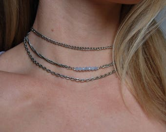 Layered Vintage Silver Chain Choker with Periwinkle Bead Bar. Multi Strand Chain Choker Necklace.