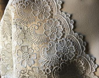 "SALE IVORY Lace Venise Lace 15"" Wide  for Bridal, Shawls, Garments"