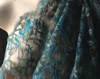 """SALE TEAL & Copper Chantilly Lace Fabric 36"""" width from France by Solstiss for Bridal, Couture, Lyrical Dance, Ballet"""
