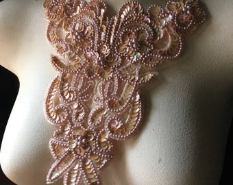 Peach Beaded Applique for Lyrical Dance, Ballet, Costumes  CA 750