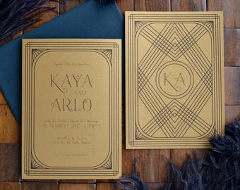 Celtic Art Deco Wedding Invitation Set - Invite and Response Card - in Gold or Silver Shimmer