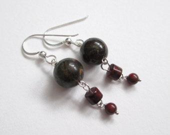 Dragon's Blood earrings, dragon's blood jasper earrings, red breccia jasper