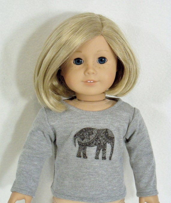 18 inch Doll Long Sleeved Heather Gray Tee W/Ethnic Elephant Design
