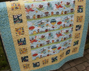 Woodland Animals, Things with Wings, I Must Fly Baby Boy Quilt