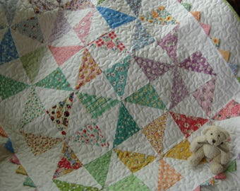 Grandmas Scrapbasket Baby Pinwheel Quilt, Baby Boy Quilt, Baby Girl Quilt, Toddler Quilt, Vintage Fabric Baby Quilt