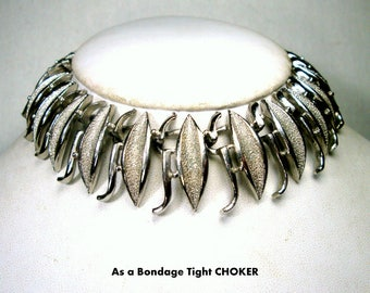 Modernist Linked Silver Choker Necklace 1960s  Art Deco Powerful Warrior Woman, Industrial Fierce Adjustable Length Collar