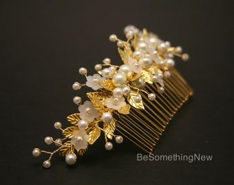 Beaded Wedding Hair Comb Gold and Ivory Bridal Comb with Metal Leaves and Wired Pearls Decorative Beaded Headpiece Flower Comb