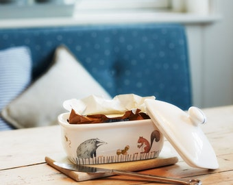 Woodland Animals Butter Dish - made from dishwasher safe fine bone china