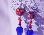 HANDMADE CARNIVAL EARRINGS, uNiqUe, Funky, Sterling Silver, Colorful, Retro style