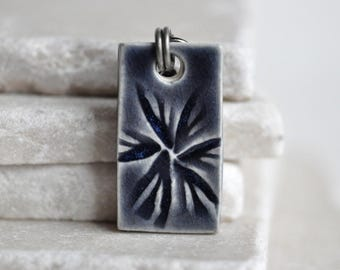 Midnight Sky Pendant in Ceramic Porcelain, handcrafted in Wisconsin, original abstract design, buttery smooth and dainty