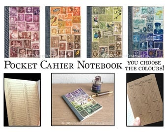 Custom Colour Kraft Cahier - A6 Pocket Notebook, Stamp Collage Art
