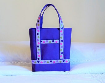 NEW BIBLE TOTE  Special Price. Perfect Size for your Bible, Journal, Pens, Study guides. Purple polka dot trim on sturdy Purple Canvas.