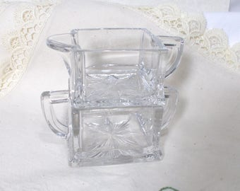 Small Vintage Clear Square Shaped Sugar Bowl and Creamer Set-Stackable-Individual-Tea for 2