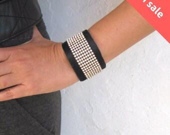 SALE Leather Cuff Bracelet. Rhinestone Black Leather Bracelet.