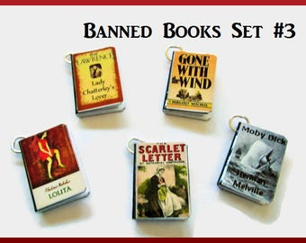 Miniature Book Charms Classics Banned  Books Inspired Theme  Set of all Five (Set#3)
