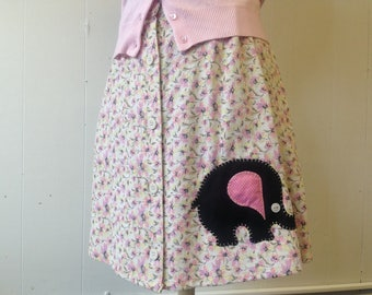 Floral Skirt with Elephant Applique