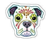 Boxer in White Sticker - Day of the Dead Sugar Skull Dog - Clear Vinyl Decal