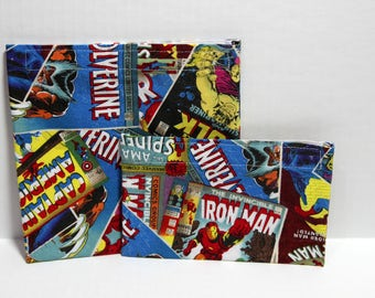 Reusable cloth sandwich and snack bag set- superhero