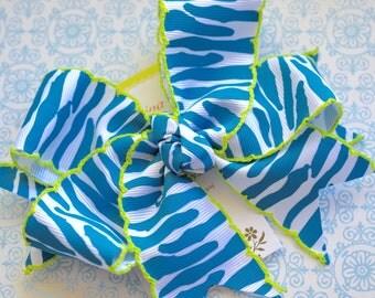Turquoise Zebra with Bright Green Crochet Edge XL Diva Bow