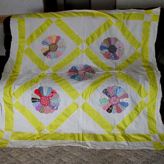 antique c1920 art deco applique dresden plate quilt top. Black Bedroom Furniture Sets. Home Design Ideas