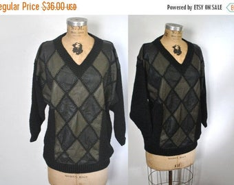 50% OFF Leather Knit Sweater / S-L