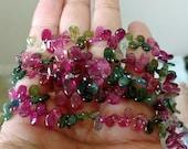 "Pink Green Blue Gem Watermelon Bio Tourmaline Smooth Gradual Size Pear Briolette Drop Beads 8""+  69 beads"