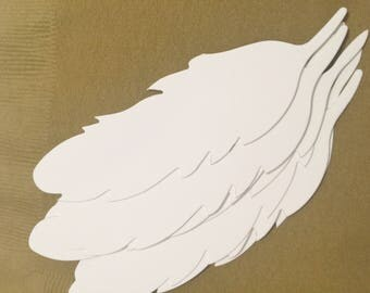 White feather gift tags.  Set of 10.