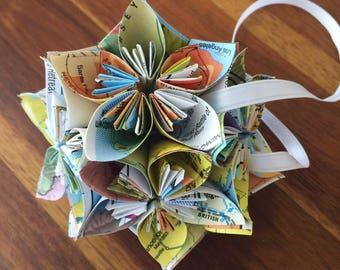 vintage us maps small paper flower pomander ornament