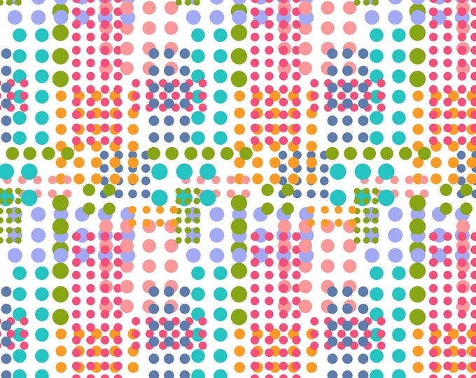 Waterfall Dots Fabric by Ellen Medlock - 1 Yard Multi-colored Rainbow Dots Quilting Sewing Cotton Fabric  (#928L)