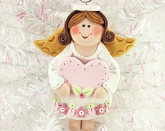 Baby's First Angel Ornament - Baby Girl Angel Ornament - Personalized Angel Christmas Ornament - Polymer Clay Angel Ornament - 11712