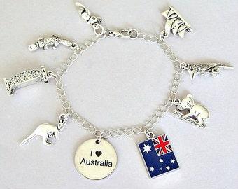 Australia charm bracelet, Australia necklace, I love Australia, kangaroo, Aussie, platypus, Sydney bridge, koala bear, Sydney Opera house