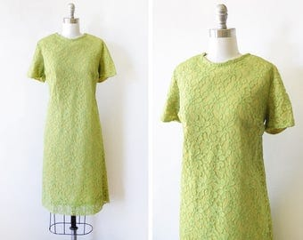 60s green lace dress, 1960s shift dress, mod party dress, chartreuse a line dress, medium large ml