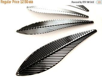 ON SALE Black Leaf Pendant 4 large angel wings metal charms 70mm x 20mm  (PE300)