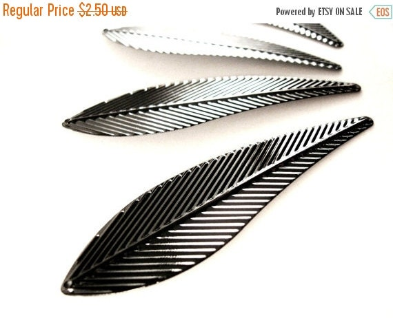ON SALE Black Leaf Pendant 4 large angel wings metal charms 70mm x 20mm  (PE300)