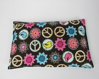 Rice Heat Pad, Rice Cold Pack, Brown Pink Turquoise White, Peace Birds, Heat Therapy Pack, Microwave Heat pad