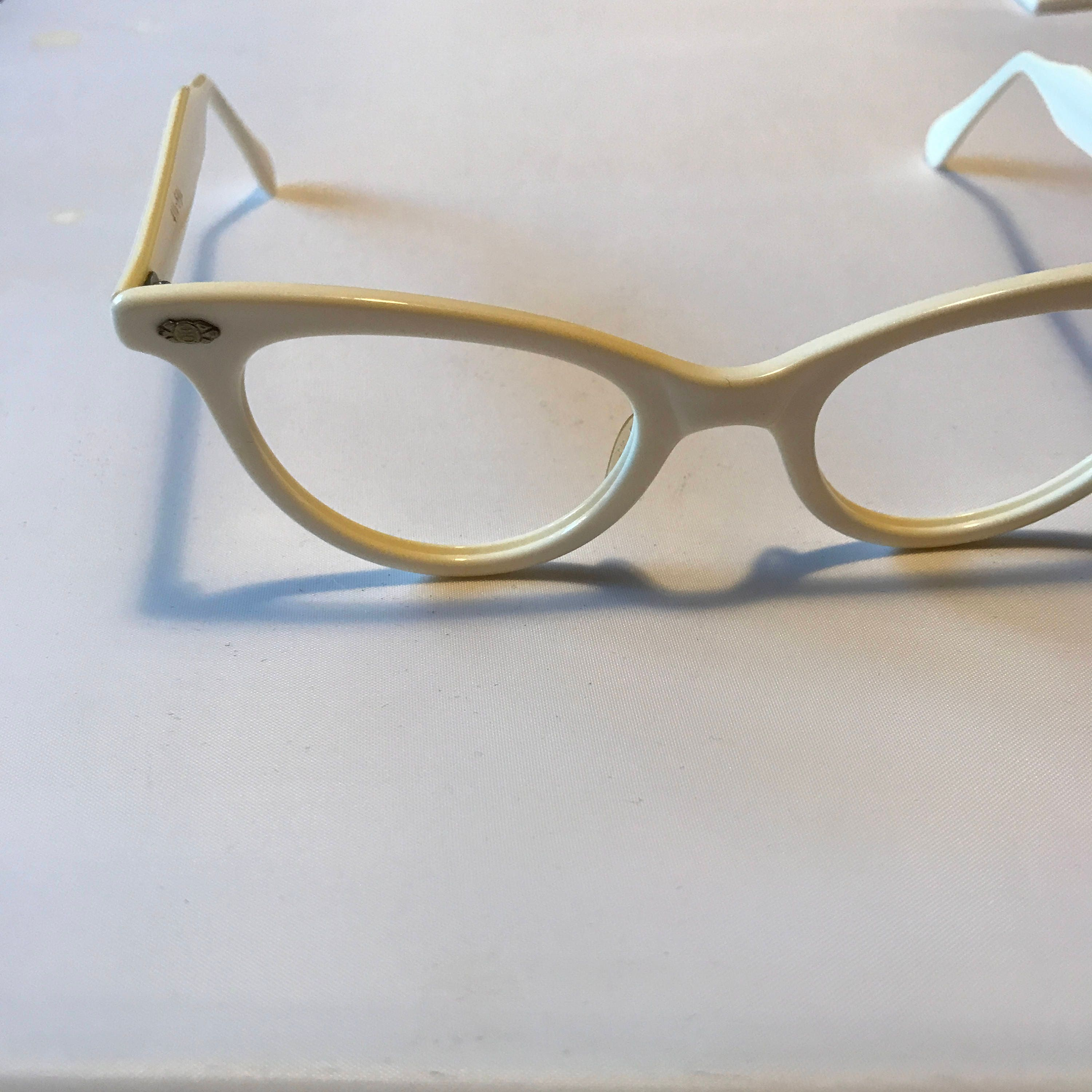 Cream Colored Eyeglasses, New Old Stock Glasses 1950s Cateye Glasses ...
